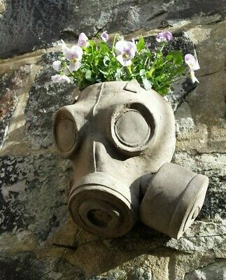 Cast Stone Gas Mask Wall Planter Steampunk (with drain hole)