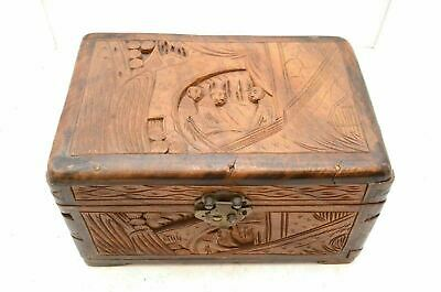 Antique Vintage Art Chinese Old Wood Handmade Jewelry Box treasure chest 11.5""