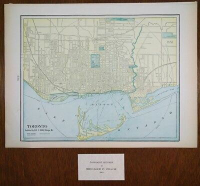 """Vintage 1902 TORONTO CANADA Atlas Map 14'x11"""" ~ Old Antique ROSEDALE OLD MILL"""