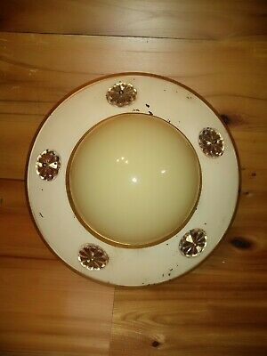 Vintage Art Deco 1920s-30s Cream Gold Aluminum? Ceiling Light Cover Globe
