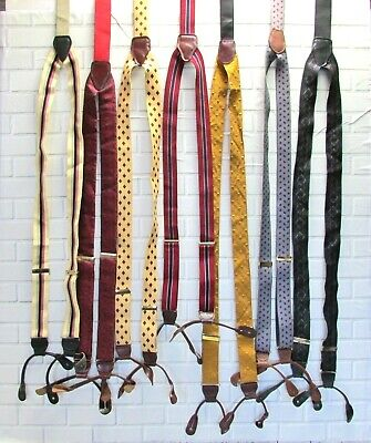 Men's Suspenders Leather Button Tabs Vintage Lot of 7 Y-Back Braces Mixed Fabric