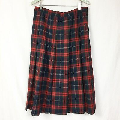 6cf3769293 Vtg LL Bean Wool Tartan Plaid Skirt 16 Pleated Buttons USA Made Long Modest  34