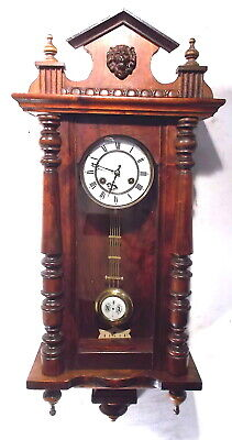 Beautiful Junghans Column Vienna Regulator Wall Clock With Porcelain Dial---1890