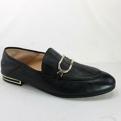 624a449491a Karl Lagerfeld Black Leather Loafers Gold Buckle Dress Shoes Womens Size 8.5