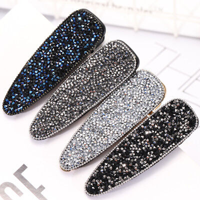 Fashion Ladies Crystal Snap Slide Hairpin Barrettes Hair Pins Clips Accessories