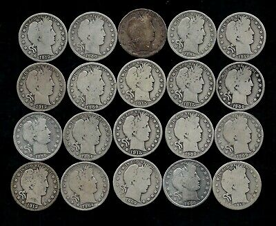 Roll (20) Barber Half Dollars 90% Silver (1899-1915) Lot P75