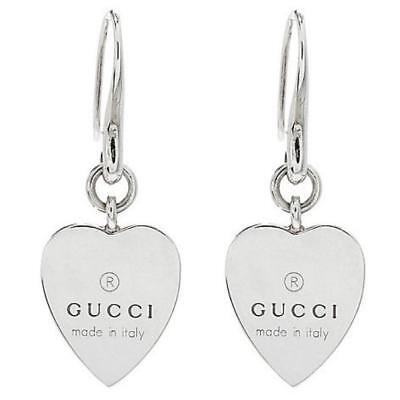 e48874bbfb1 NEW AUTH GUCCI TRADEMARK HEART 925 ST SILVER DROP EARRINGS w Box ...