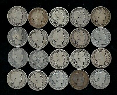Roll (20) Barber Half Dollars 90% Silver (1892-1915) Lot P77