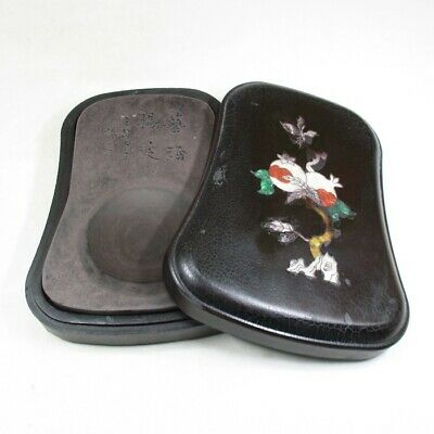 E646: Chinese sculptured ink stone with case of inlaid mother-of-pearl work