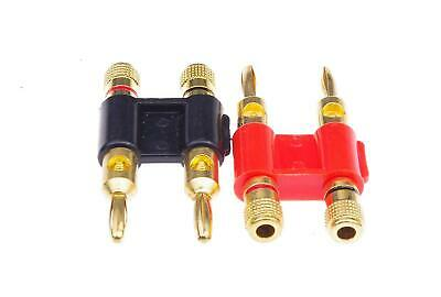 SMAKN® 1 Pair Dual High-Quality Copper Speaker Banana Plugs - Black&Red