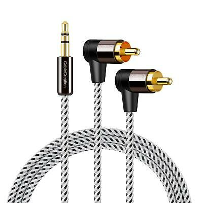3.5mm to RCA Cable,CableCreation 6 feet 3.5mm Male to Angle 2RCA Male Auxiliary