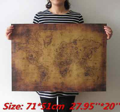 Large Vintage Style Retro Paper Poster Globe Old World Map Gifts 71x51cm Amazing