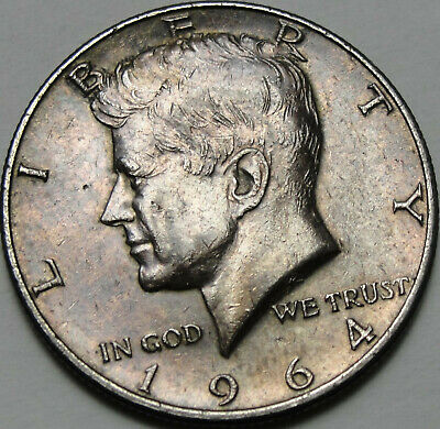 1964 50C Kennedy Half Dollar, Toned, JFK, 90% Silver, #13926
