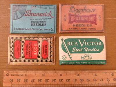 Four Old Vintage Gramophone Needle Packets Rca Victor Brunswick Boye