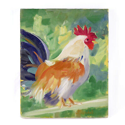 Vintage Signed Original Painting Rooster Cockerel Le Coq Art Farmhouse Country
