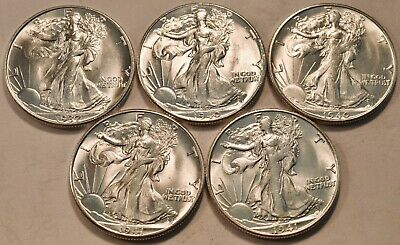 Lot (5) Uncirculated 1937 1940 S 1941 S Walking Liberty Half Dollars Silver 50C