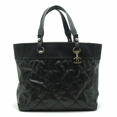 Auth CHANEL Paris Biarritz Tote Bag A34209 Coated Canvas Black /052978 FREE SHIP