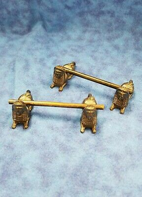Victorian Egyptian Revival Silver Knife rest pair Sphinx