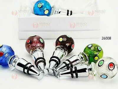 N.1 Favours Wine Stopper with Ball Glass Murano with Spots Coloured 26008