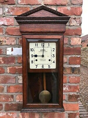 Rare & Unusual National Time Recorder Clock Housed In Oak Case