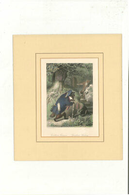 A.H Payne - Late 19th Century Hand Coloured Book Plate, Grimbart's Summons