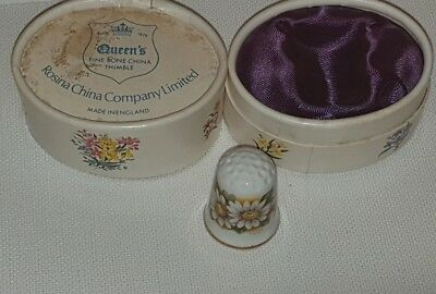 Queens Bone China October Daisy Thimble In Original Box Box Lid Stained.