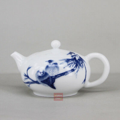 Hand painted birds Chinese Jingdezhen Blue and white porcelain tea pot 100ml
