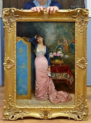 Fine Large 19thC Antique French Paris Belle Portrait Oil Painting Beautiful Girl