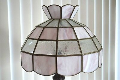 Vintage  Large Tiffany Style Stained Slag Glass Lamp Shade -  Shade Only