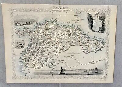 Venezuela Ecuador Original Antique Map - 1851 By John Tallis