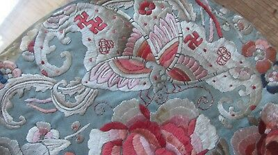 """Antique Chinese Quing Dynasty Roundel. Silk Embroidery 12"""" Diam , Floral / Wan`s"""