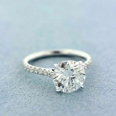2.10 Ct Round D/VVS1 Diamond Solitaire Engagement Ring In 14K White Gold Finish
