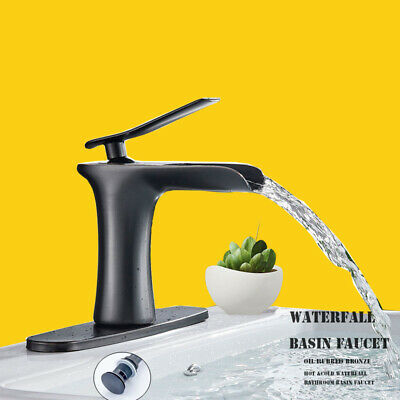 Oil Rubbed Bronze Bathroom Sink Faucet Waterfall Single Handle with Drain+Cover