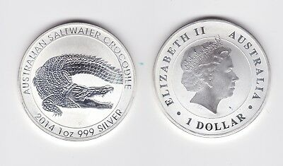 2014 Perth Mint Saltwater CROCODILE 1 oz .999 Silver $1 Coin Australia !)