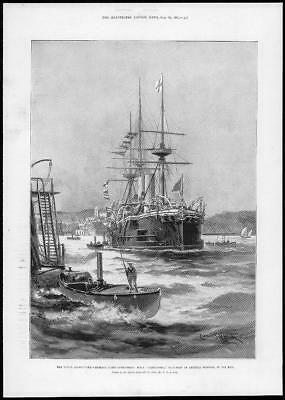 Art 1897 Victorian Print Commodore Addressing Chiefs Hms Nelson New Guinea Plus Text