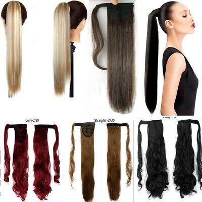 Long Hair Extension Pony Tail Thick Clip In As Human Wrap Ponytail Cosplay Magic