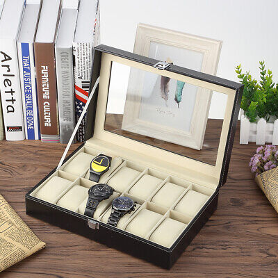 12 Grids Watch Display Storage Box Jewelry Collection Case Gift Organiser Holder