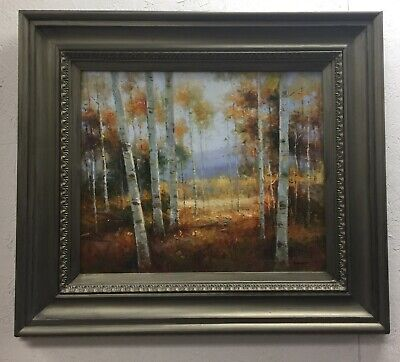 "Birch Trees Framed Oil Painting on Canvas 35"" Wide x 31"" High"