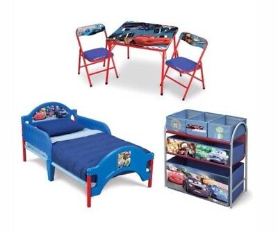 DISNEY PIXAR CARS 5 PC Toddler Bed, Table & 2 Chairs, Toy Box, Storage Organise