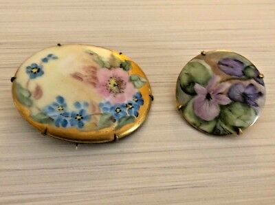 HAND PAINTED Porcelain Jewelry Lot Vintage Floral Flower Brooch Pins