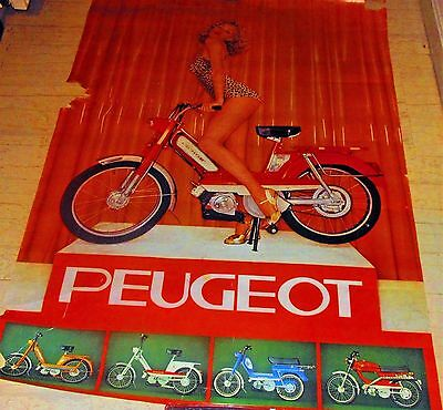 UNIQUE VINTAGE GIANT PEUGEOT MOTORCYCLES STORE ADVERTISING PAPER WALL POSTER 70s
