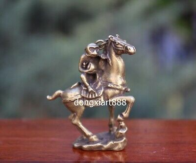 6 CM Chinese Zodiac Animal Monkey Ride Equine Horse steed Pure Bronze Pendants