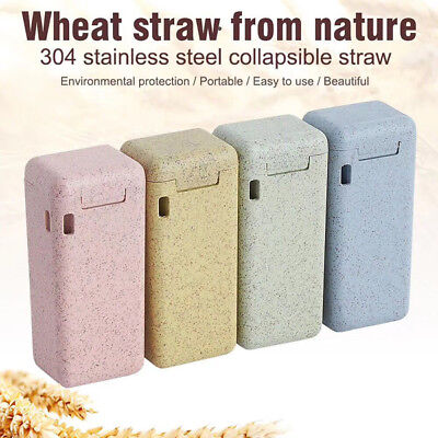 Wheat Portable Outdoor Stainless Steel Travel Collapsible Reusable Straw -