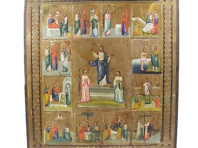 Antique Russian Orthodox religious icon panel multiple scenes The Great Feasts