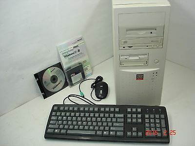 VINTAGE LOADED WINDOWS 98 DOS Gaming Computer P5F85 Pony Case CD Zip AMD  Tape