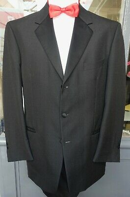 Vintage Single Breasted 3 Button Tuxedo Dinner Jacket Black Evening Wedding Prom