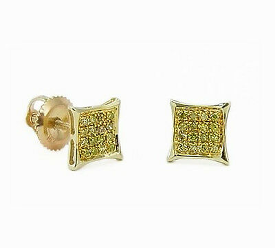 bd083198a Yellow Diamond Earrings 10K Yellow Gold Yellow Diamond Micro Pave Studs  .10ct
