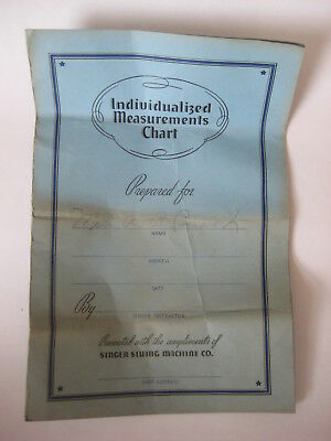 vtg 1941 Singer Sewing Machine INDIVIDUALIZED MEASUREMENTS CHART antique form