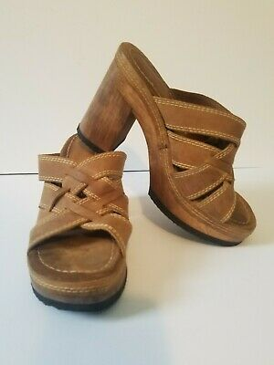 72a29809684 VINTAGE CANDIES BROWN Wood Clog Platforms Size 8 Woven Leather 90s ...
