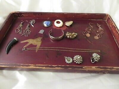 Junk Drawer Lot of 12 MIXED Vintage Jewelry/Silver/Copper/GoldTone/Singles+Plus